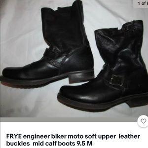 FRYE MOTO biker engineer mid calf soft boots 9.5